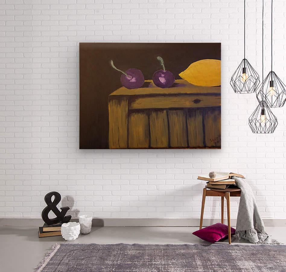 Lemon and Plums  Wood print