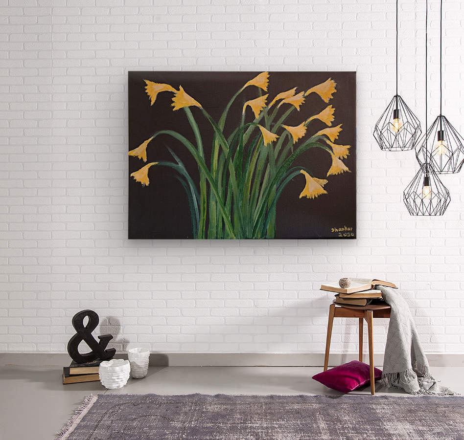 daffodils  Wood print