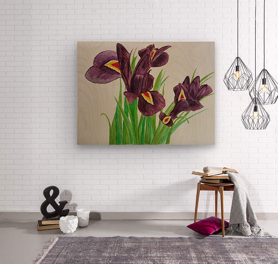 Irises  Impression sur bois