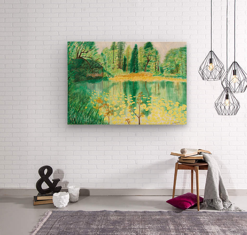 Wallington Hall pond  Wood print