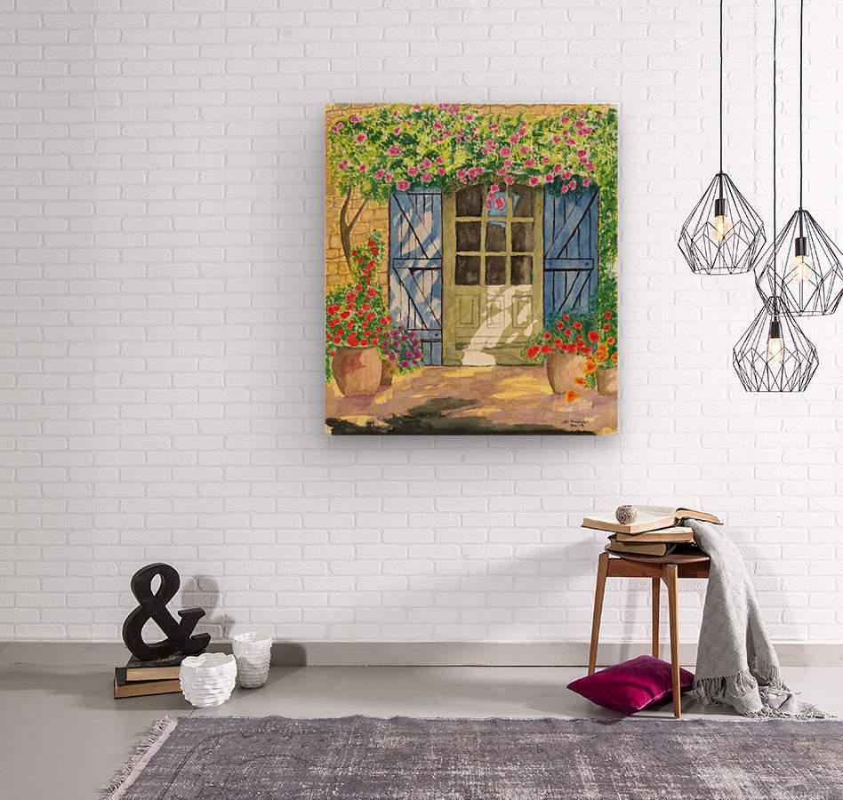 Rose cottage  Wood print