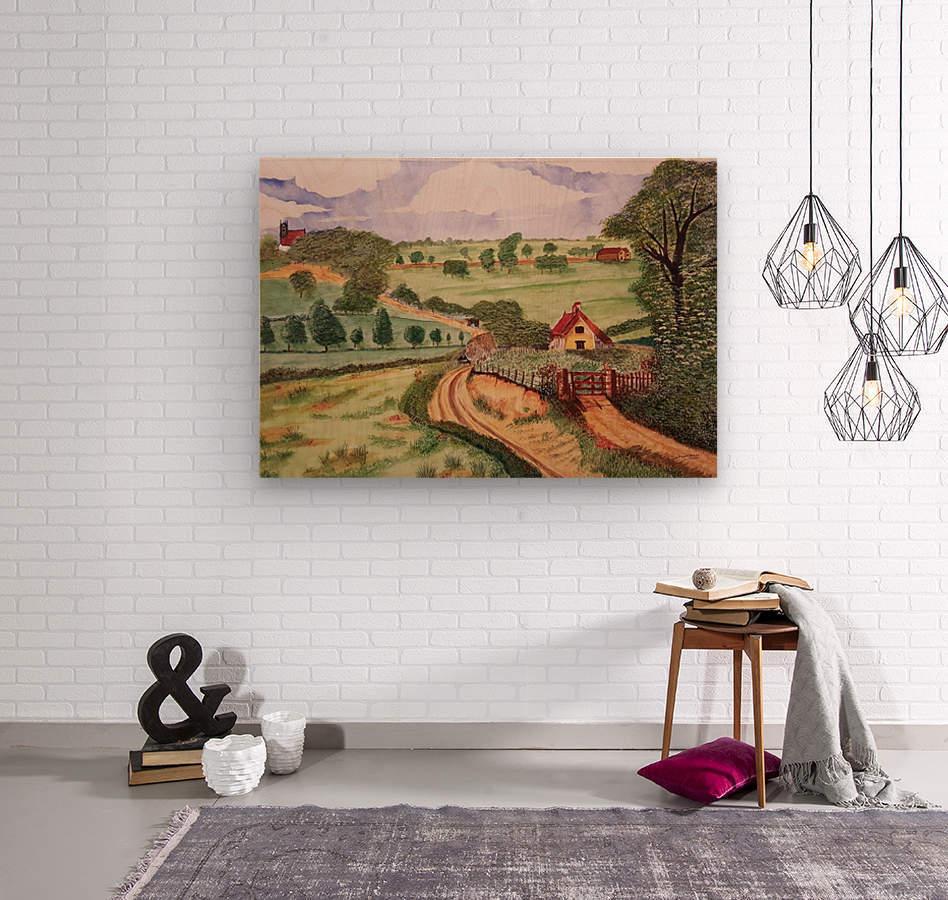 Village countryside  Wood print