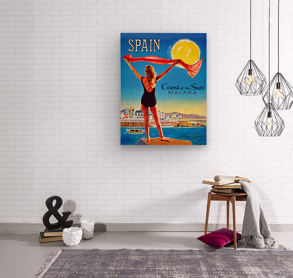Girl on Malaga Beach  Wood print