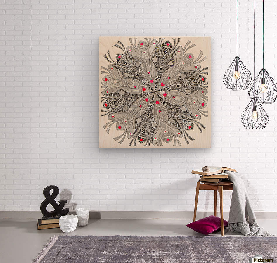 flower of hearts  Impression sur bois