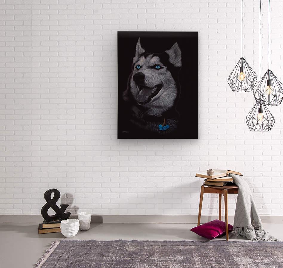 HUSKY_COLOR PENCIL_65.50X80.50  Wood print