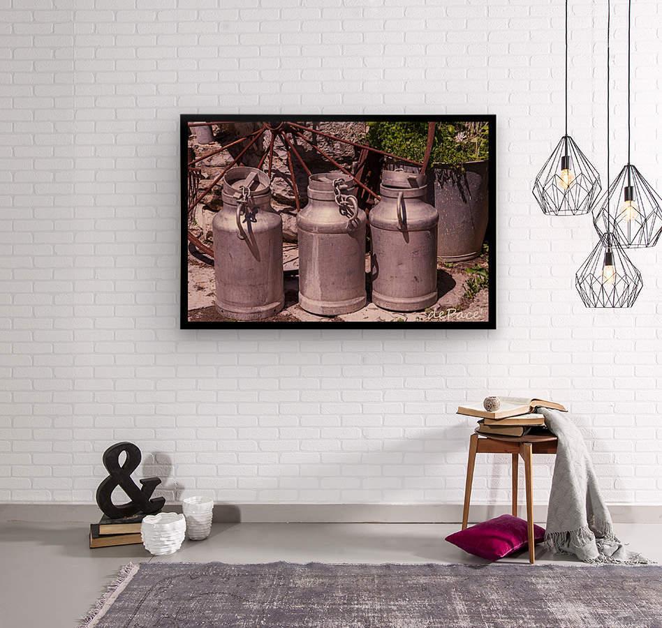 rustic milk cans  Wood print