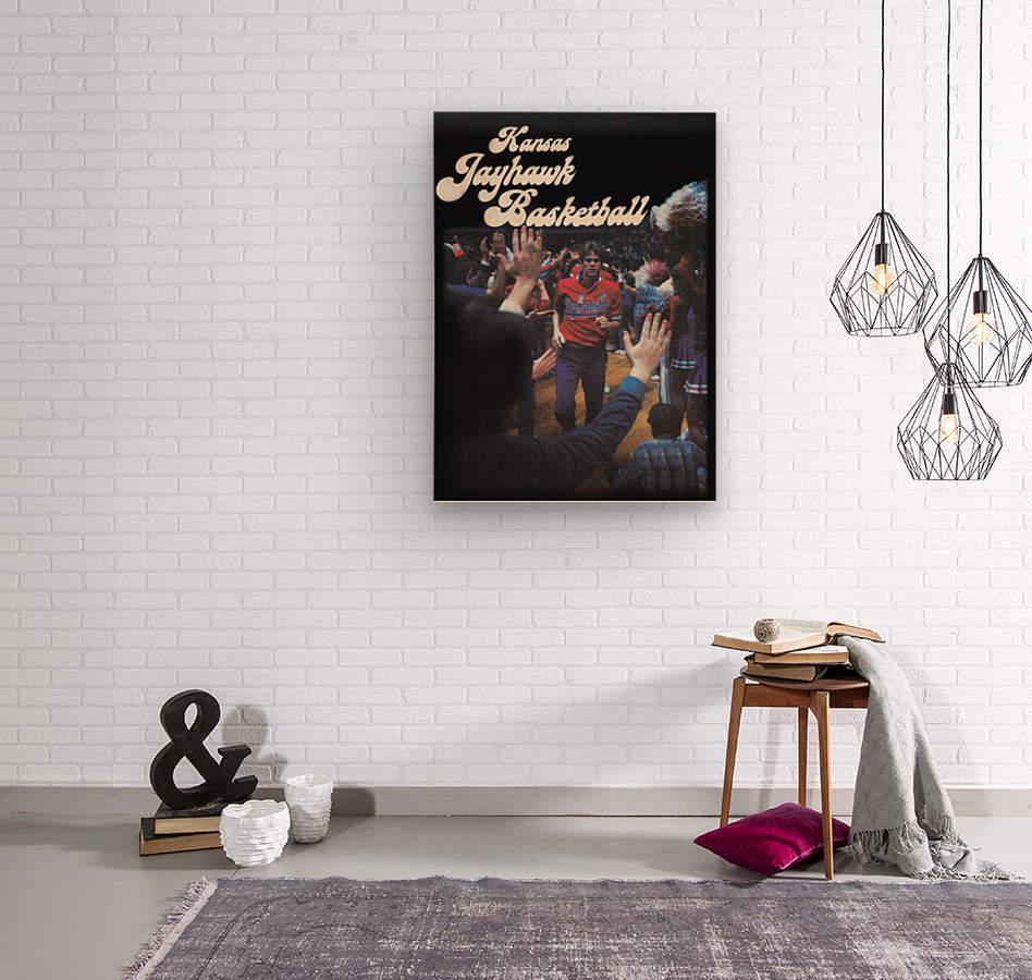 vintage kansas jayhawks basketball poster ku 1982  Wood print
