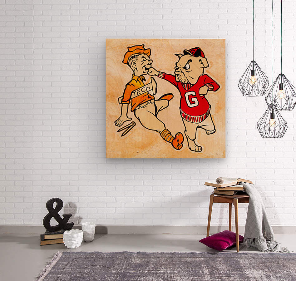 Vintage Georgia Bulldog Punching Tech Engineer College Canvas Print Wood  Wood print