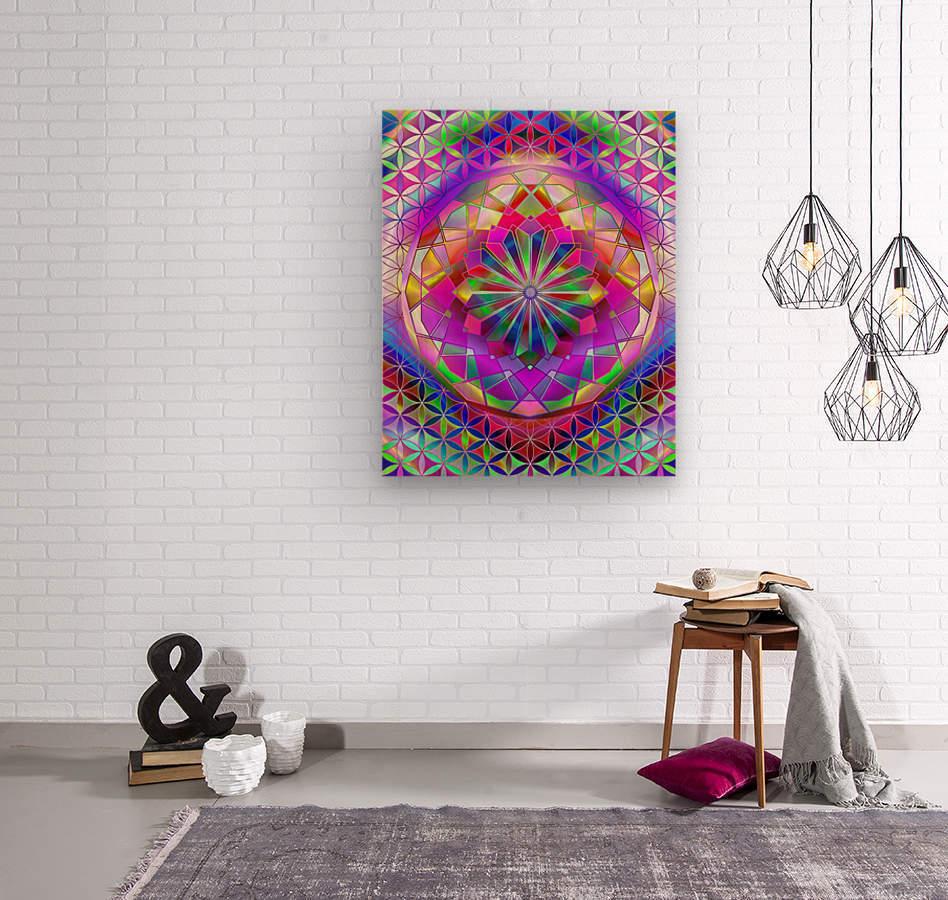 Crystal Flower Mandala  Wood print