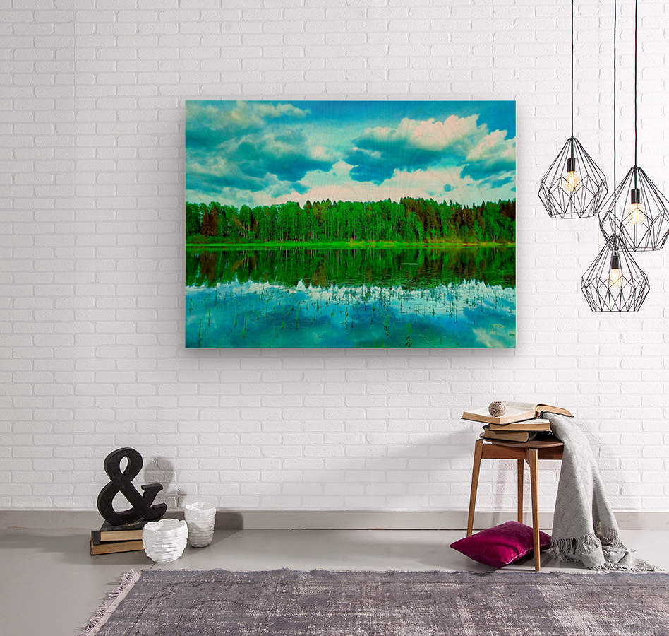 Forest beyond the lake  Wood print