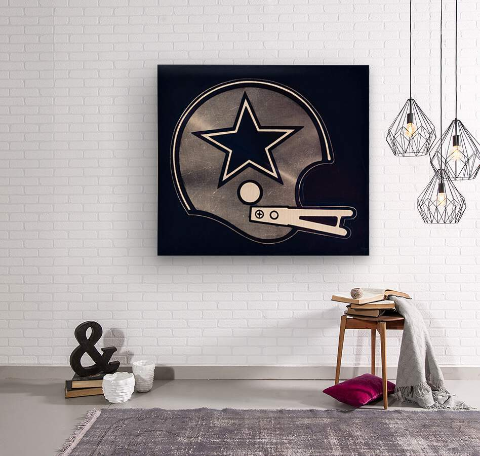 vintage dallas cowboys nfl helmet art  Wood print