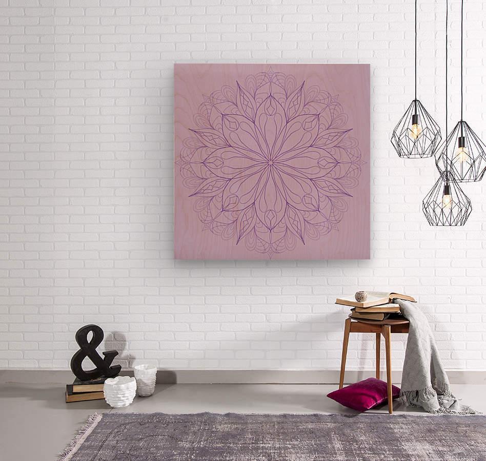 lilac mandala  Wood print