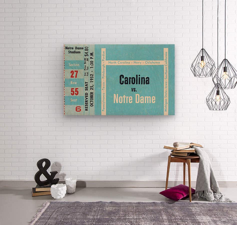 1952 north carolina tar heels notre dame irish college football sports ticket art south bend indiana  Wood print