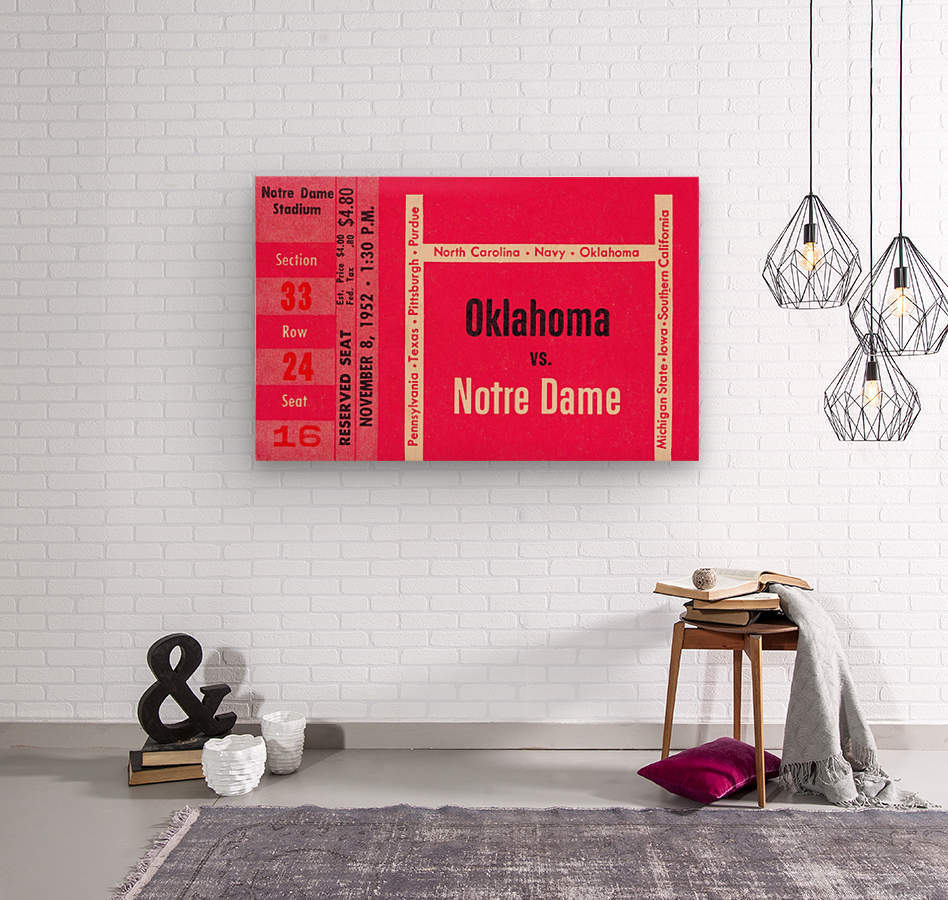1952 Oklahoma vs. Notre Dame 1st National TV Game  Wood print