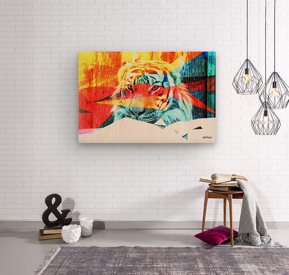 TIGER IN ABSTRACT FORM  Wood print