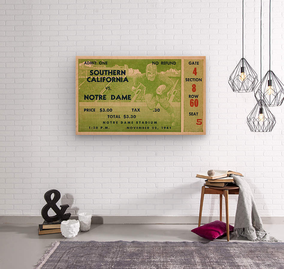 1941 usc notre dame football ticket wall art sports gift ideas south bend indiana  Wood print