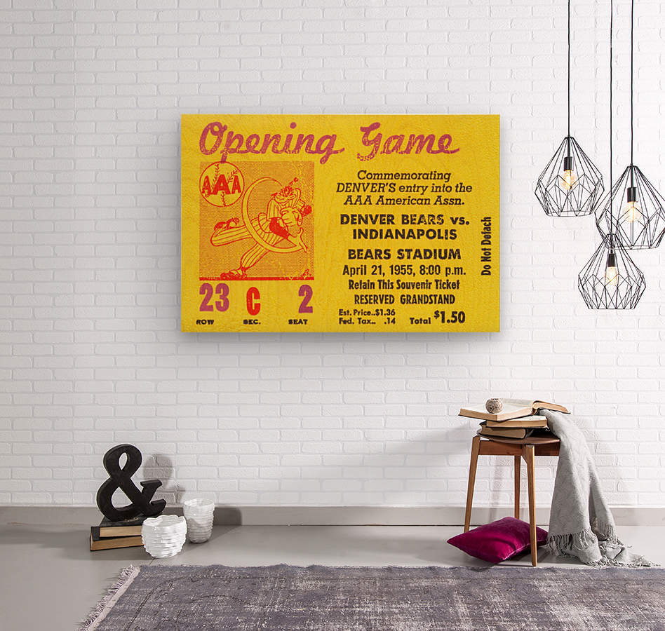 1955 aaa baseball denver bears opening game baseball ticket stub frame canvas  Wood print