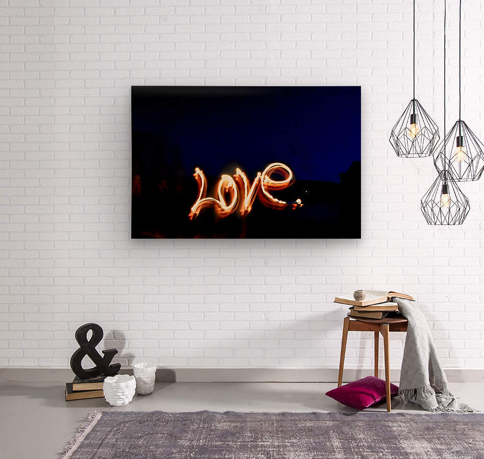 Love lights sculpture   Wood print