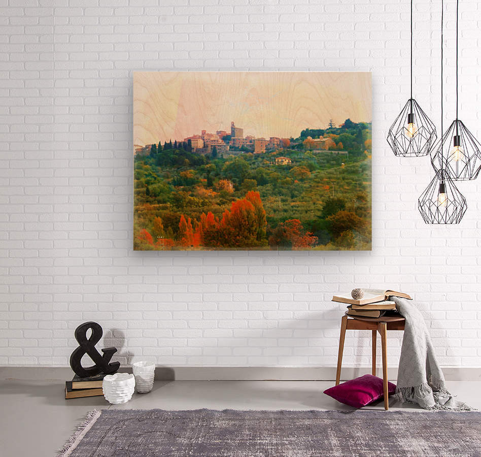 Panicale in Fall  Wood print