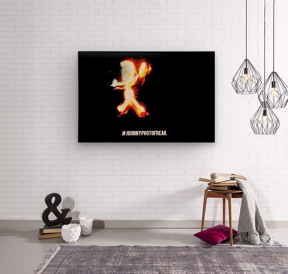 Fire Stickman  Wood print