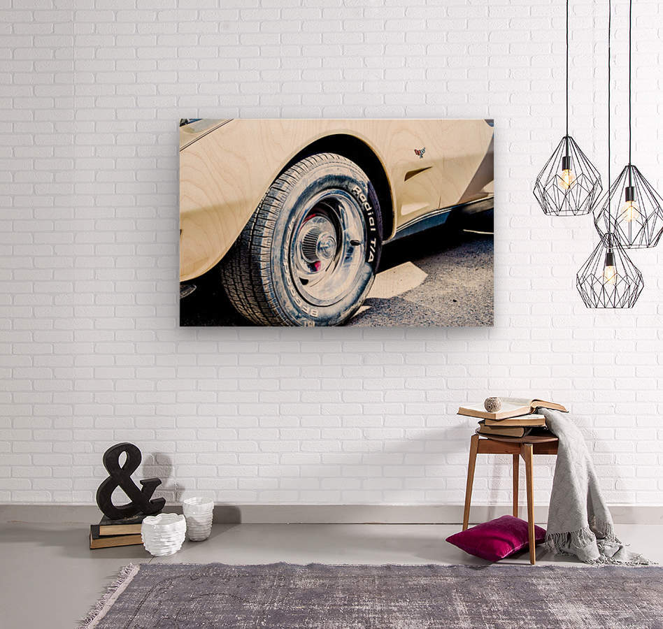 Old corvette   Wood print