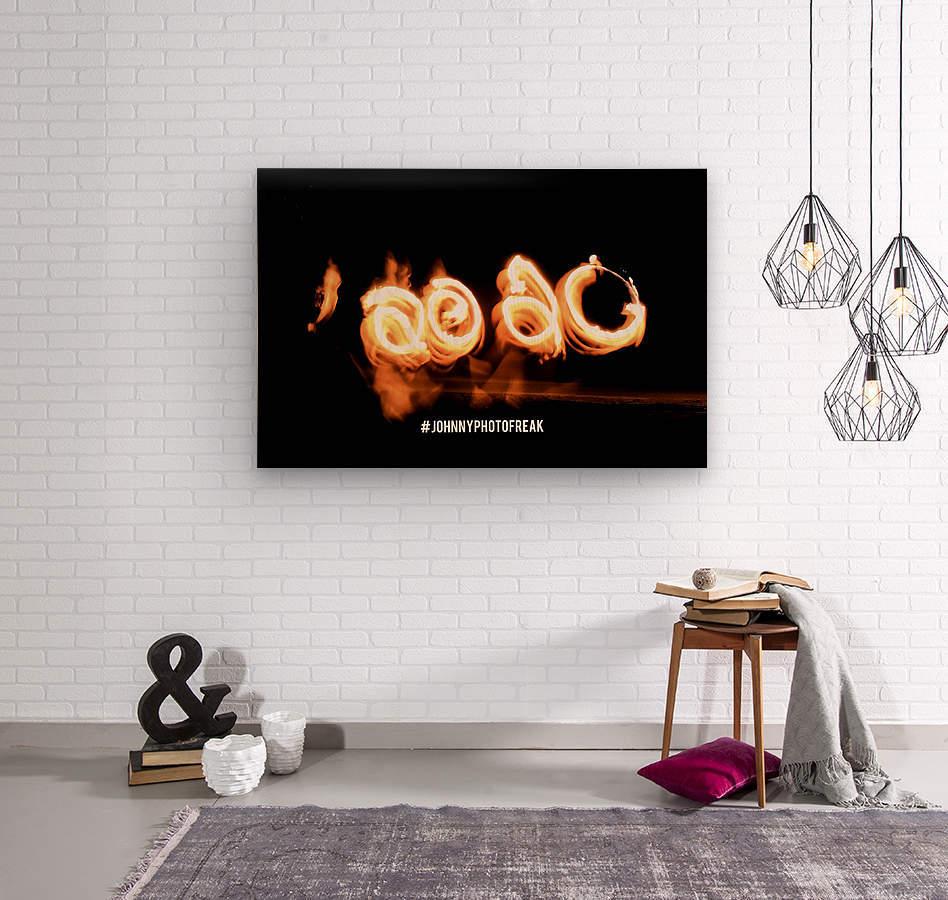 2020 Fire light painting  Wood print