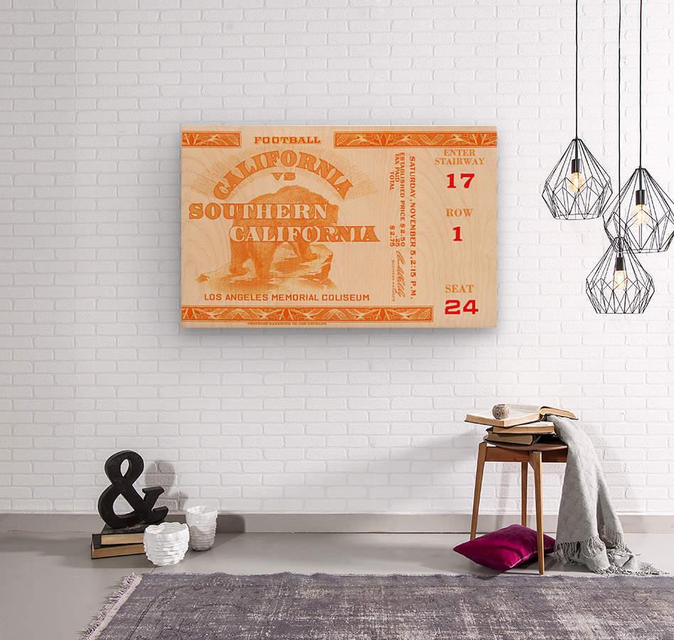 1938 cal bears usc trojans football ticket stub art la coliseum  Wood print