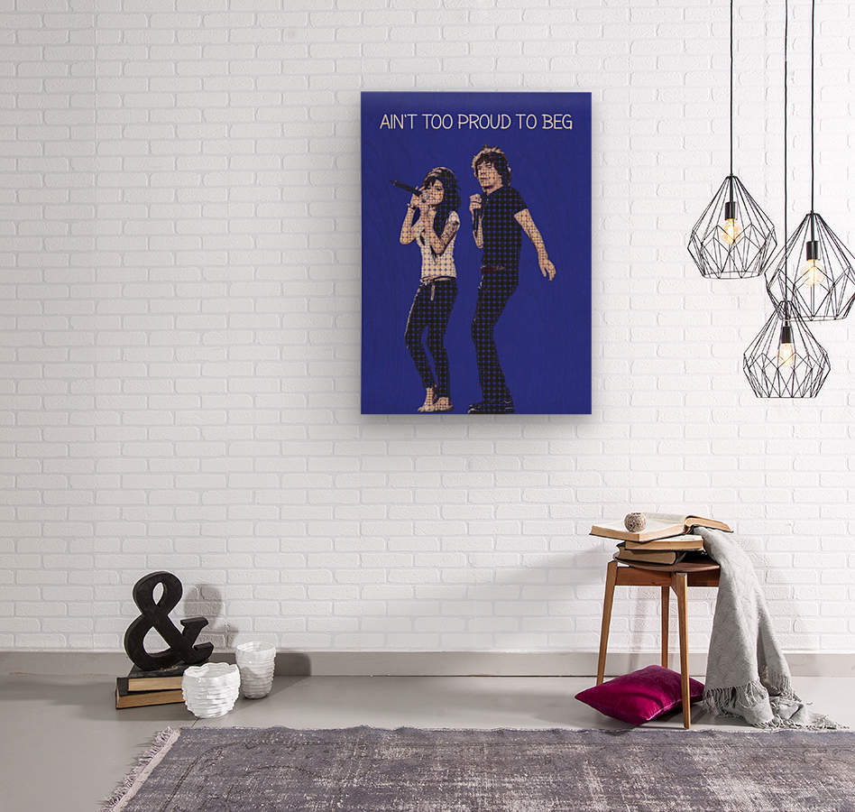 Aint Too Proud to beg   Amy Winehouse & Mick Jagger  Wood print