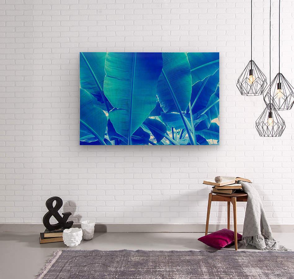 Blue Bananas - Re-Imagined Tropical Biophilia  Wood print