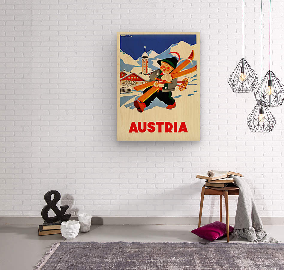 Little Skier from Austria  Wood print
