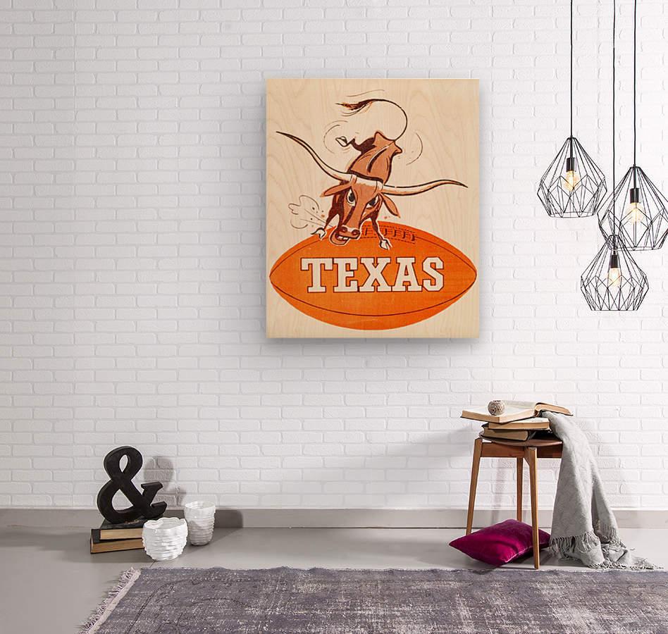 1957 texas longhorns vintage football art  Wood print