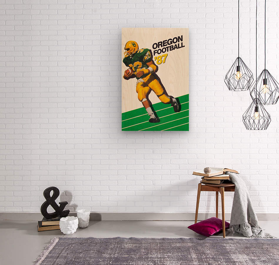 1987 oregon ducks retro football poster  Wood print