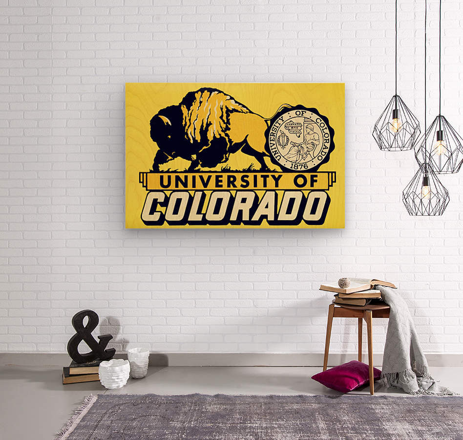 1950s vintage college art university of colorado buffaloes boulder  Wood print