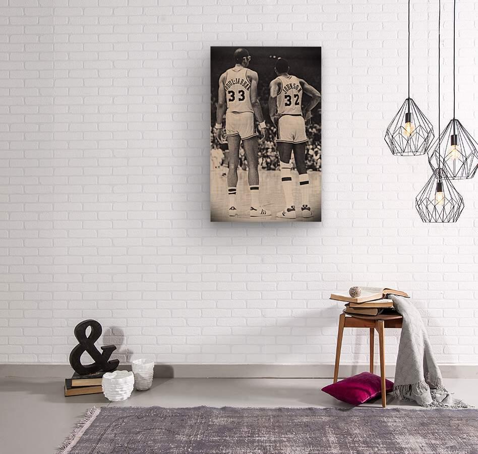 1984 la lakers magic johnson kareem abdul jabbar art  Wood print