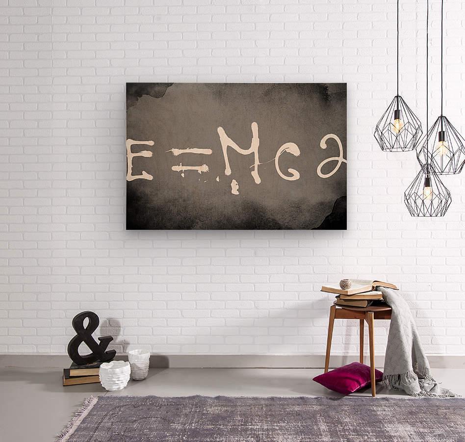 E=mc2  Wood print