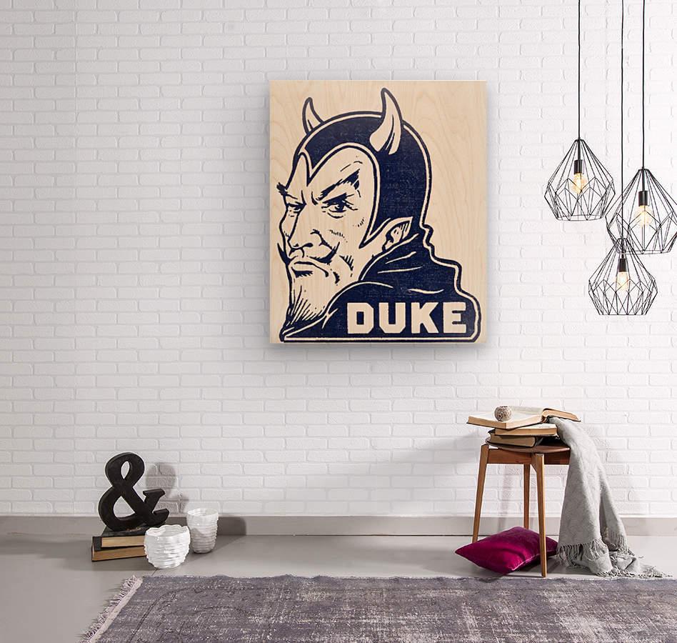 1950s duke university blue devil college art  Wood print