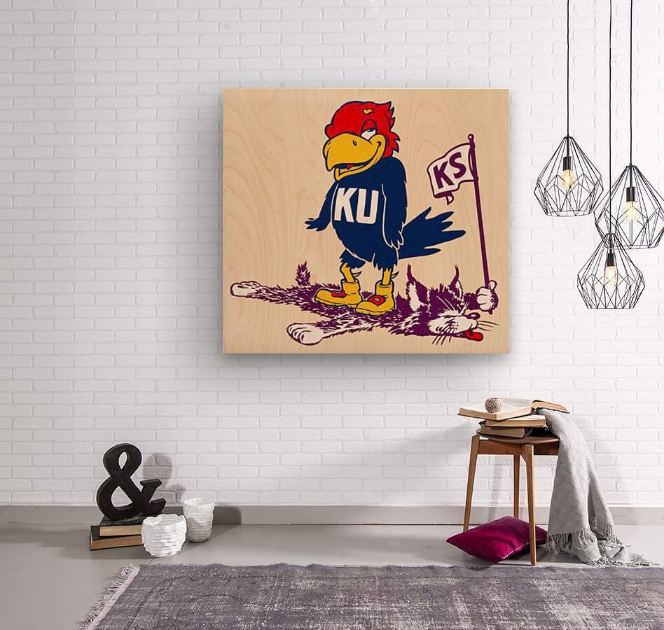 Vintage Kansas Jayhawk Standing Over K-State Wildcat Art  Wood print