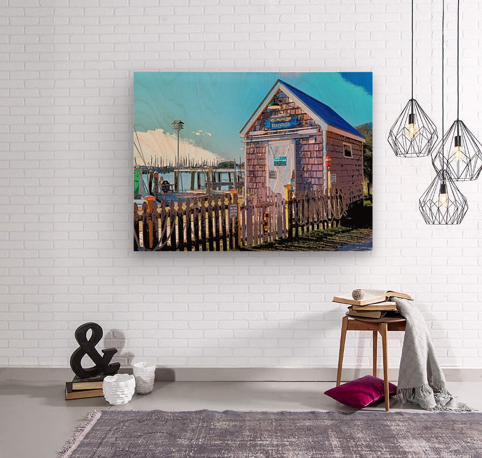 Yacht Basin boathouse  Wood print