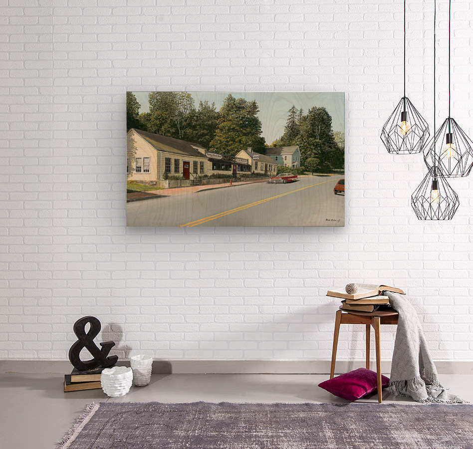 Sandy Hook Diner - Newtown Series 16 X 24   Wood print