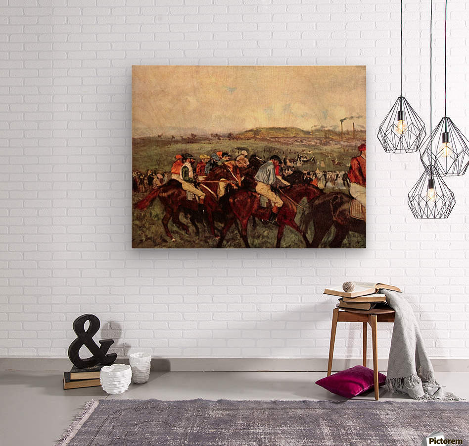 Men s riders before the start by Degas  Wood print