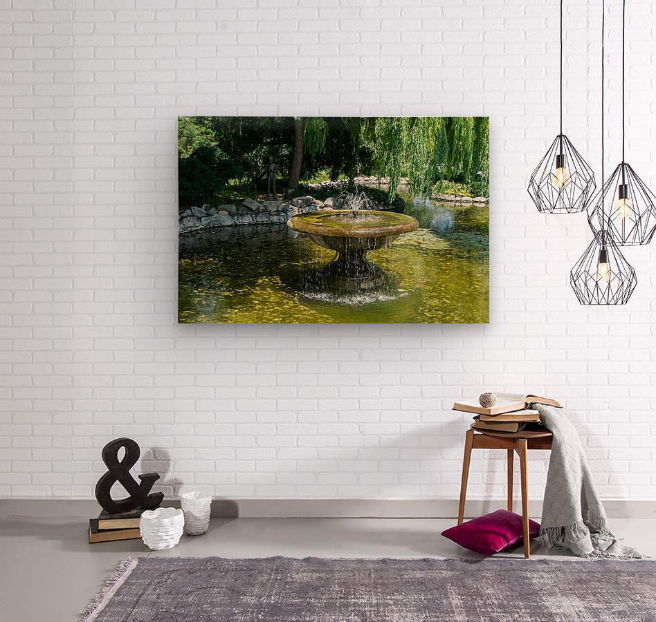 Refreshing Summer - the Little Fisherman Fountain Cheerfully Splashing in the Sunshine  Wood print