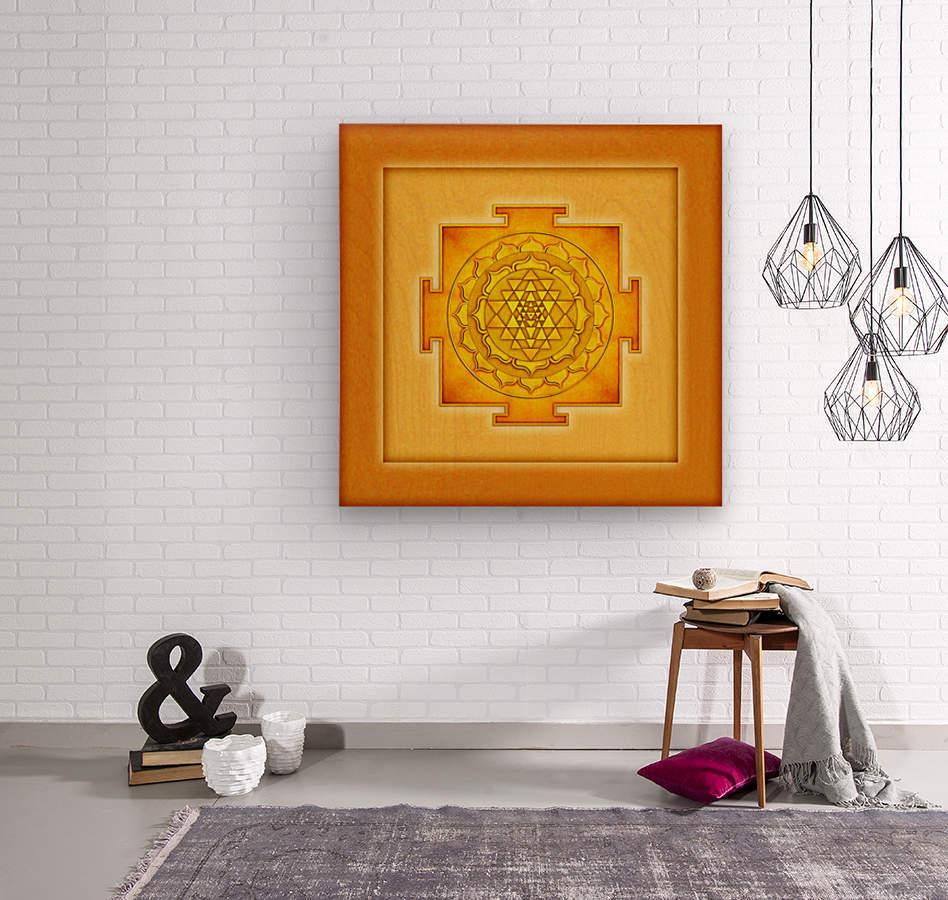Golden Sri Yantra III  Wood print