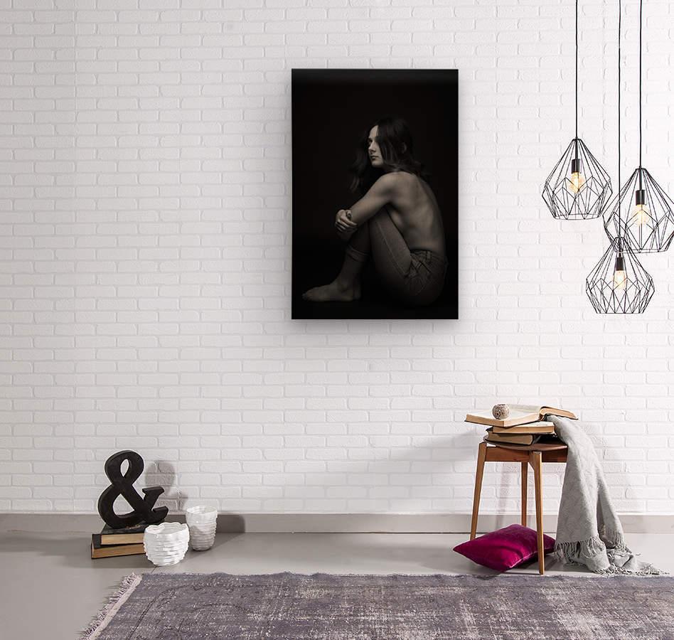 Black and White Woman Portrait 1  Wood print