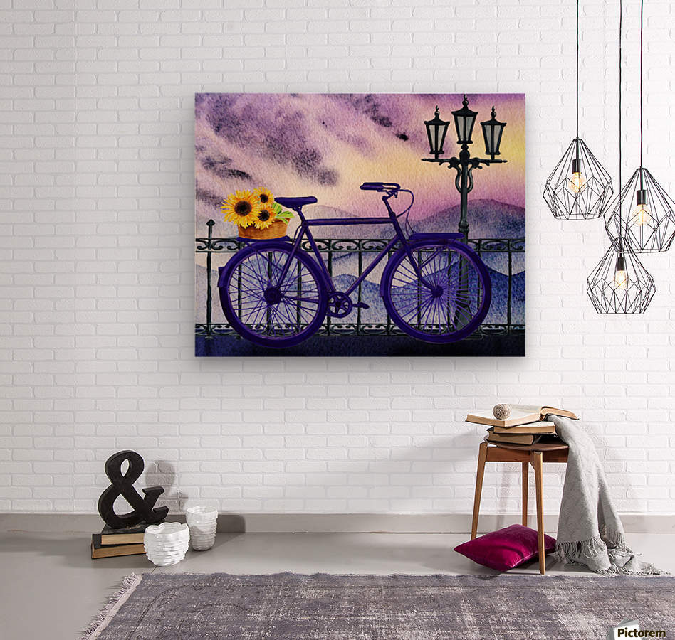 Bicycle And Sunflowers  Wood print