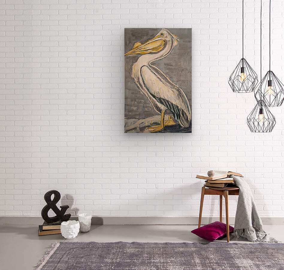 Louisiana White Pelican with Metallic Silver  Wood print