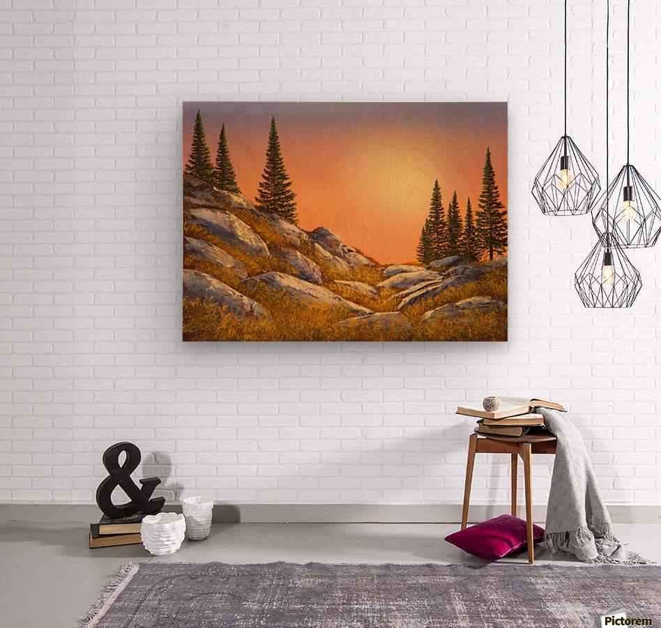 Sunset Spruces  Wood print