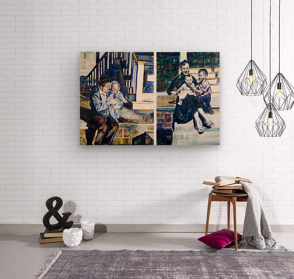 Louisiana father and Mother at the Stairs Diptych with Vintage Recipe Collage  Wood print