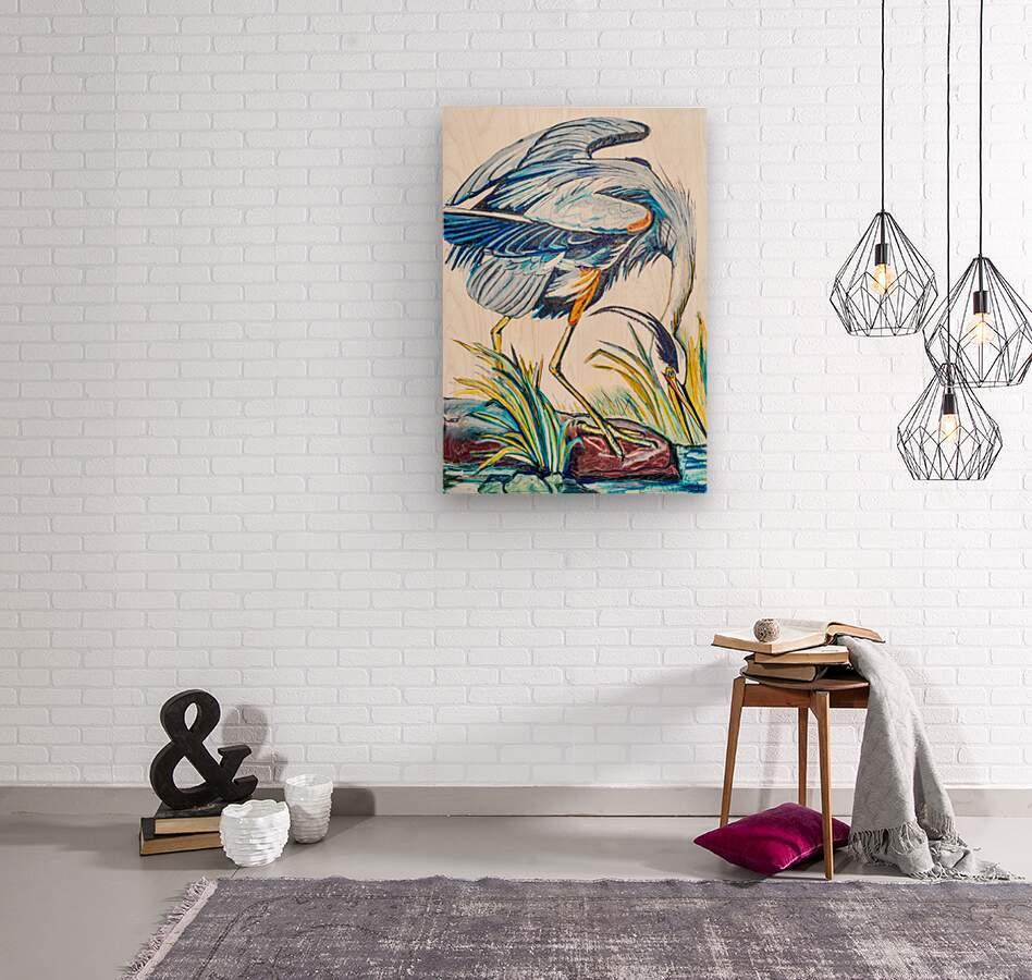 Louisiana Blue Heron Catching Fish- Bright  Wood print