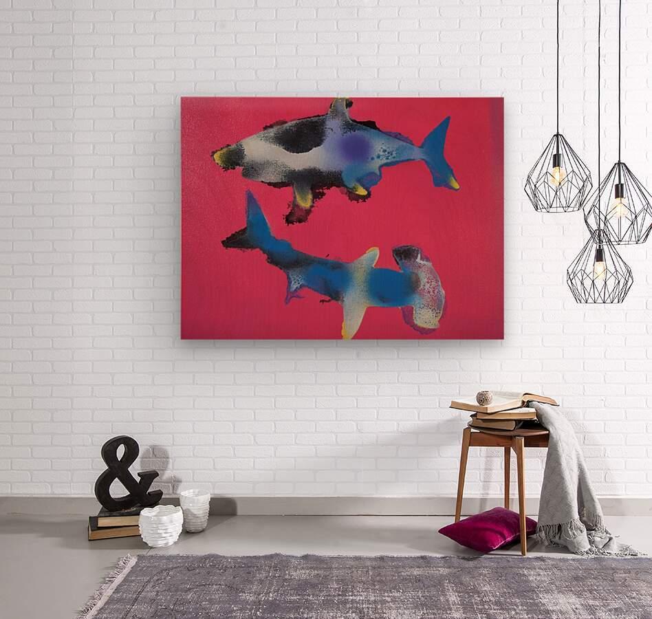 TWO HUNGRY SHARKS  Wood print