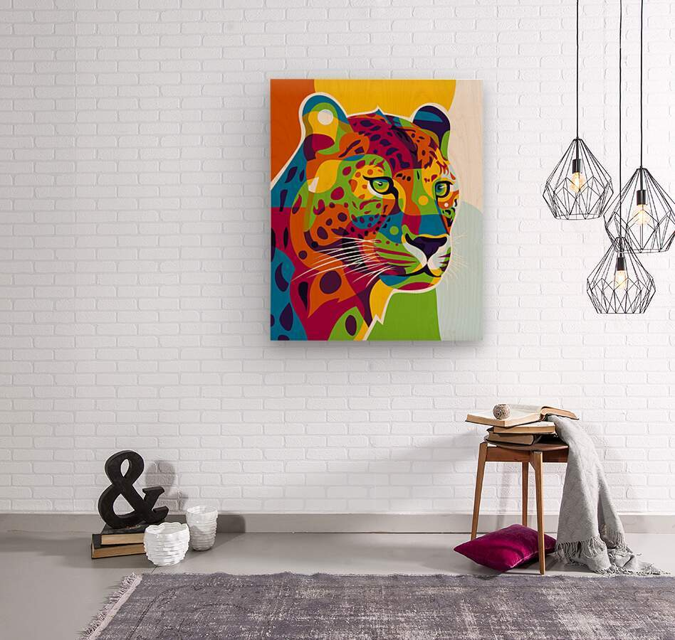 The Colorful Leopard  Wood print